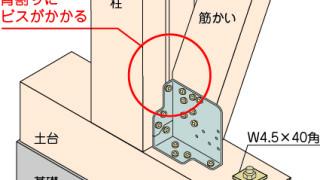 筋かい金物の施工~柱の背割りへのビス留め~誤った取付け方2-6-×