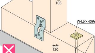 かど金物(プレートタイプ)の施工~段差への取付け~誤った取付け方3-8-×