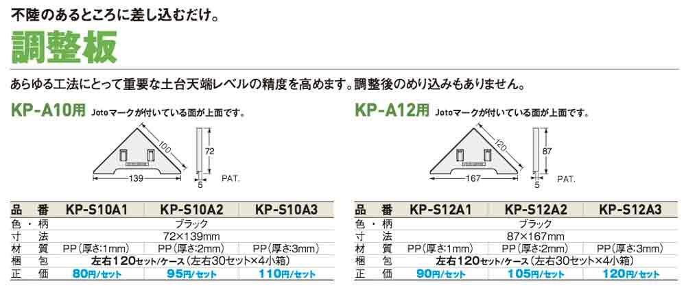 Joto(ジョートー)【キソパッキン調整板(KP-A10・A12用)】KP-S10A1(72×139×t1㎜)~他